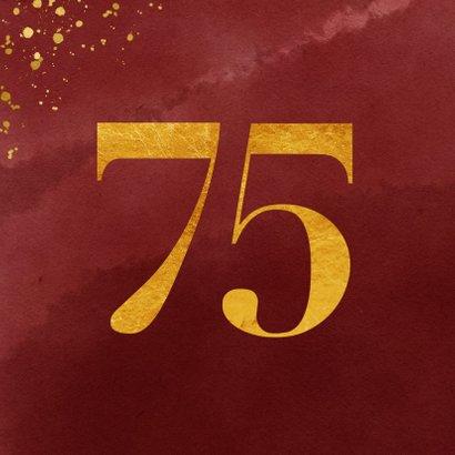 Verjaardagskaart 75 jaar gouden spetters op waterverf 2