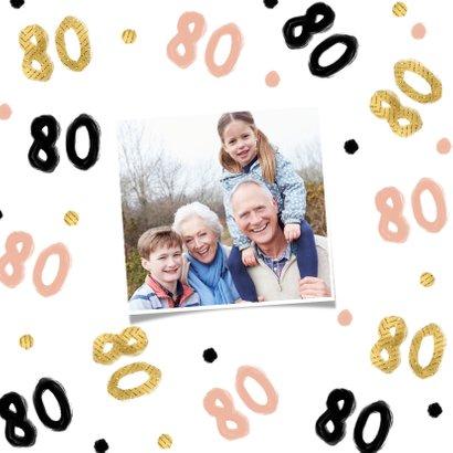 Verjaardagskaart 80 jaar roze goud zwart vrouw oma 2