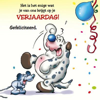 Verjaardagskaart 9 koe hond muis met ballonnen 3