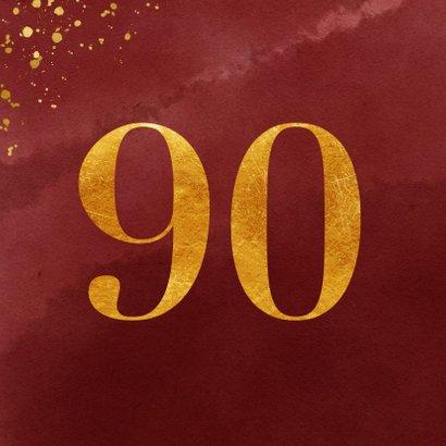 Verjaardagskaart 90 jaar gouden spetters op waterverf 2
