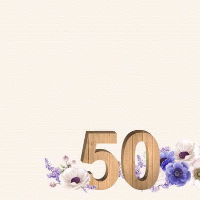 Verjaardagskaart anemonen 50 jaar 2