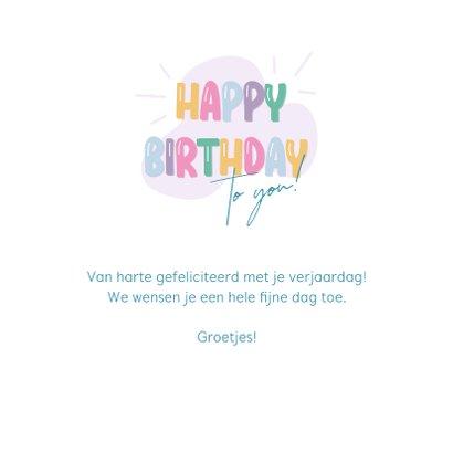Verjaardagskaart ballonletters happy birthday 3