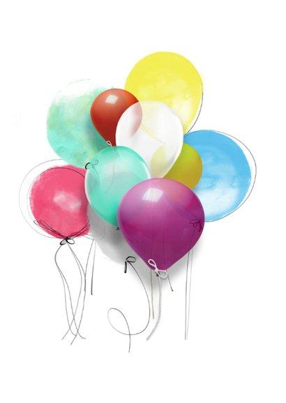 Verjaardagskaart Ballonnen Happy Birthday 2