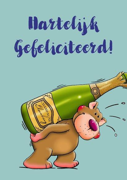Verjaardagskaart, beertje met champagne en glazen voor man 2