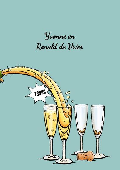 Verjaardagskaart, beertje met champagne en glazen voor man 3