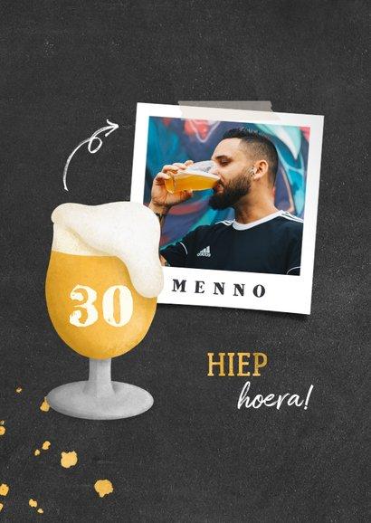 Verjaardagskaart bierglas met foto en leeftijd 2