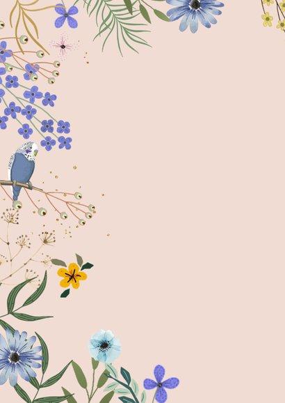 Verjaardagskaart bloemen en goudlook 2