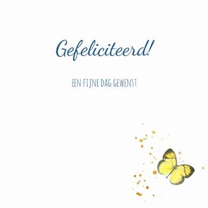 Verjaardagskaart - Bloemen en vlinders in kader 3