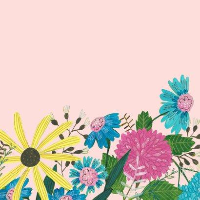 Verjaardagskaart bloemen en vogel 2