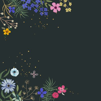 Verjaardagskaart bloemen met glitterlook 2
