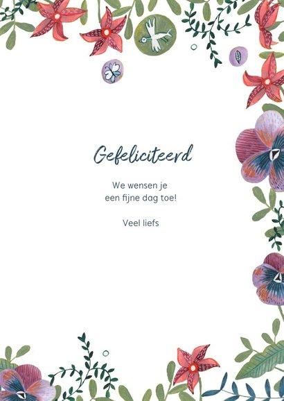 Verjaardagskaart bloemen rand en foto bloem 3