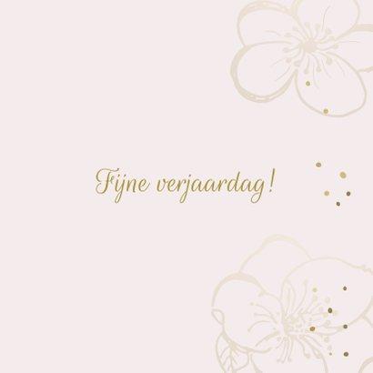 Verjaardagskaart bloemen roze goudlook 3