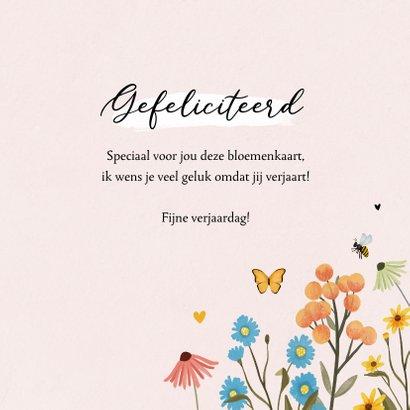 Verjaardagskaart bloemen verjaardagsknuffel vlinders 3