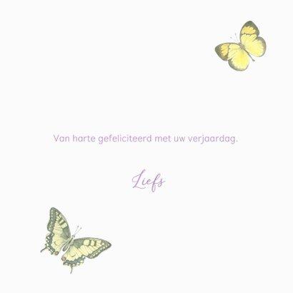 Verjaardagskaart - Bloemenkrans met vlinders 3