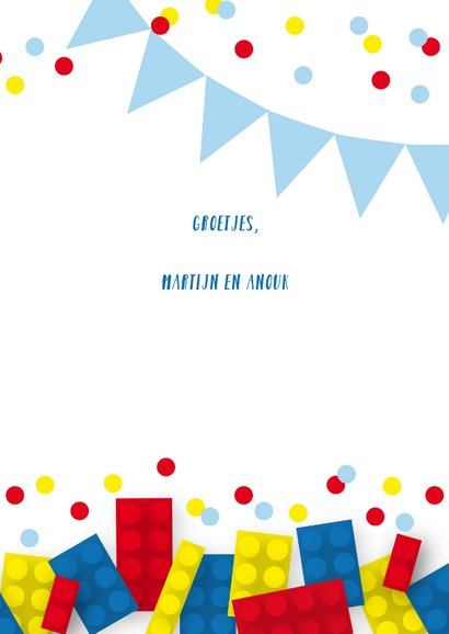 Verjaardagskaart blokken confetti jongen 3