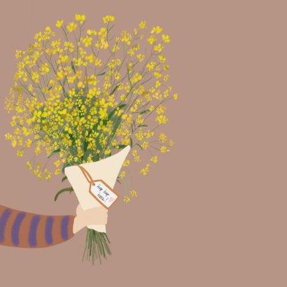 Verjaardagskaart bos gele bloemen 2