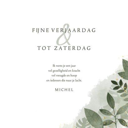 Verjaardagskaart botanische print, waterverf en spetters 3