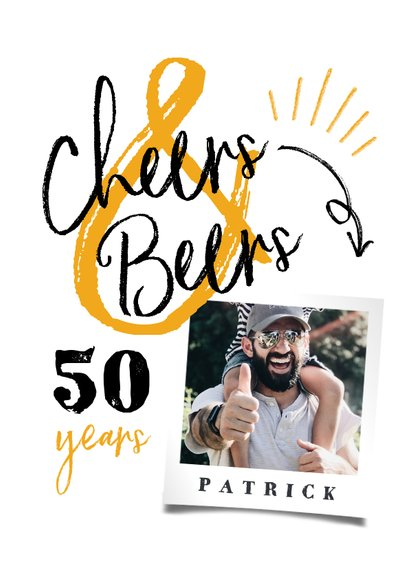 Verjaardagskaart 'cheers & beers' hip met foto 2