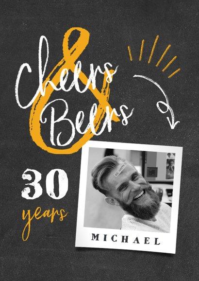 Verjaardagskaart 'cheers & beers' krijtbord met foto 2