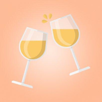 Verjaardagskaart Cheers! met proostende wijnglazen 2