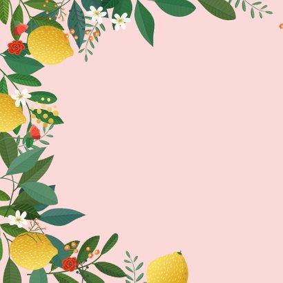 Verjaardagskaart citroen met bloemen 2