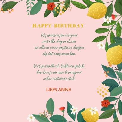 Verjaardagskaart citroen met bloemen 3