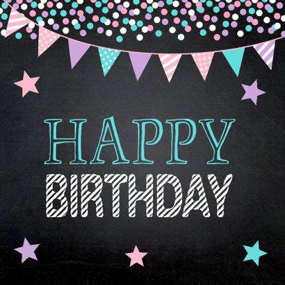 Verjaardagskaart confetti slinger sterren krijtbord 2