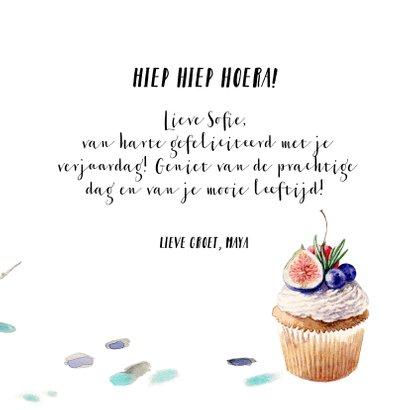 Verjaardagskaart - cupcake met fruit 3
