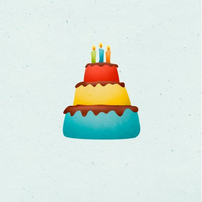 Verjaardagskaart dino t-rex taart stoer 2