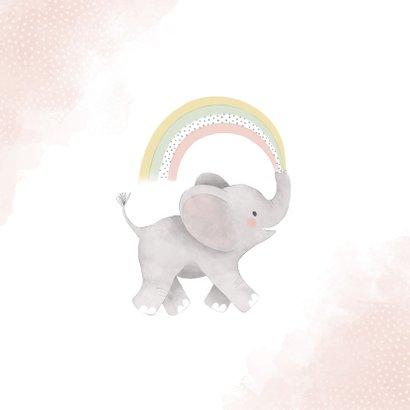 Verjaardagskaart eerste verjaardag met olifantje & regenboog 2