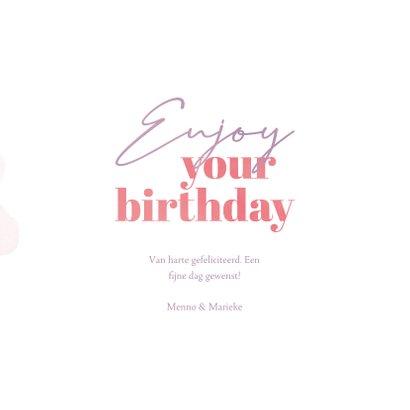 Verjaardagskaart enjoy your birthday waterverf bloemen 3