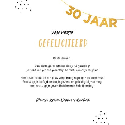 Verjaardagskaart felicitatie 30 jaar goud slinger 3
