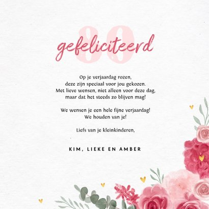 verjaardagskaart felicitatie bloemen gouden hartjes 3