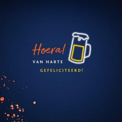 verjaardagskaart felicitatie hip feestje bier neon 2