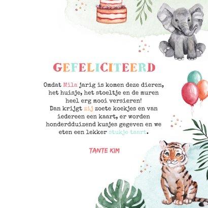 Verjaardagskaart felicitatie kind waterverf dieren feest 3