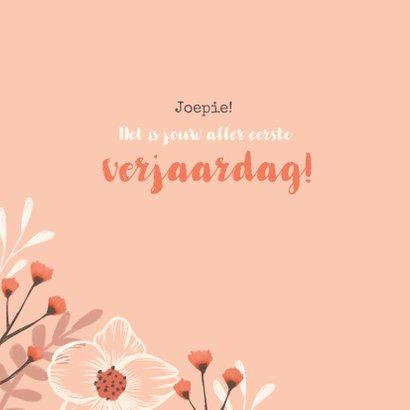 Verjaardagskaart felicitatie meisje bloemen oranje 2