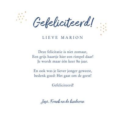 Verjaardagskaart felicitatie stijlvol bloemen blauw goud  3