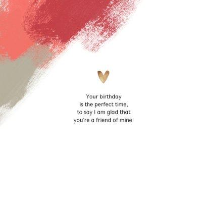Verjaardagskaart felicitatie vrouw verf hartjes foto 2