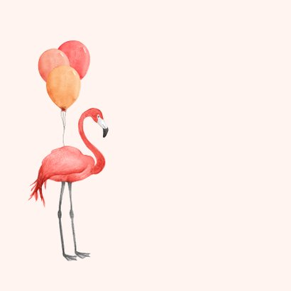Verjaardagskaart flamingo ballonnen roze waterverf 2