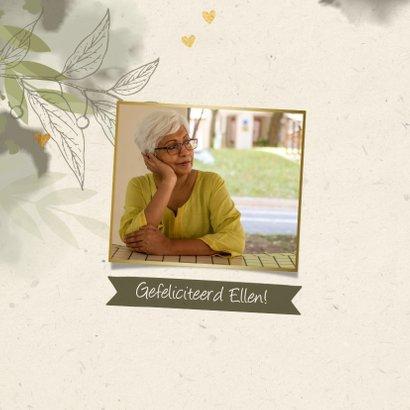 Verjaardagskaart foto takjes gouden hartjes en waterverf gro 2