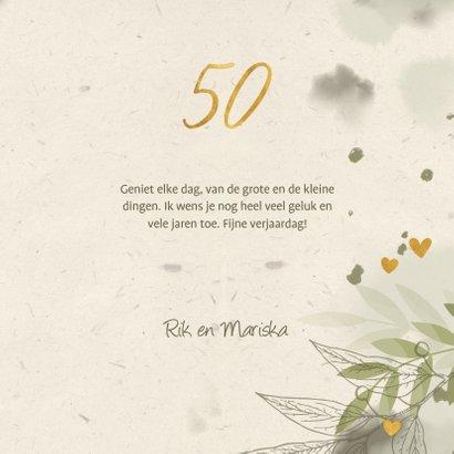 Verjaardagskaart foto takjes gouden hartjes en waterverf gro 3
