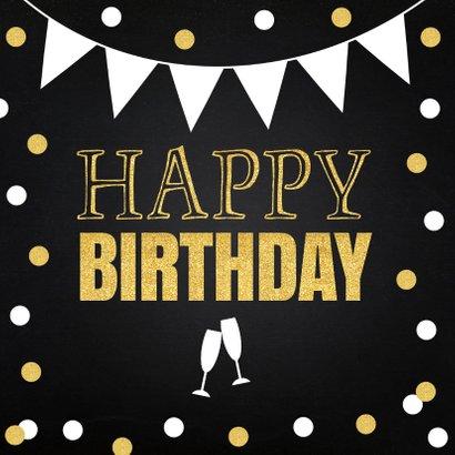 Verjaardagskaart fotocollage goud confetti 2