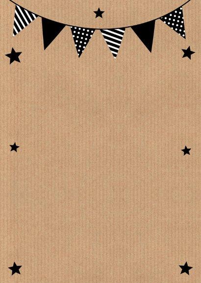 Verjaardagskaart fotocollage kraft slinger zwart-wit 2