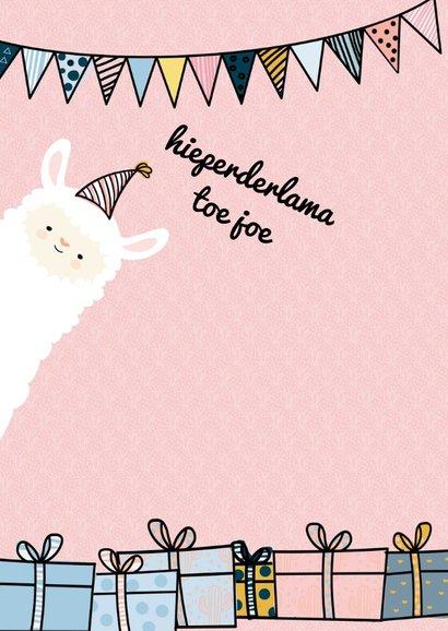 Verjaardagskaart Gefelicilama pink 2