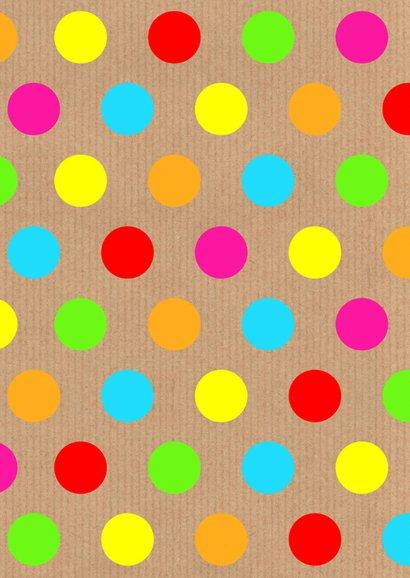 Verjaardagskaart gekleurde stippen labelprint 2