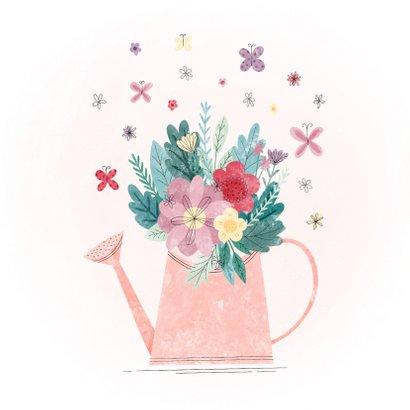Verjaardagskaart gieter met leeftijd, bloemen en vlinders 2