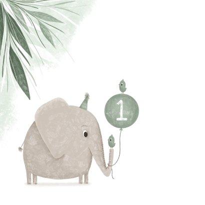 Verjaardagskaart groen 1 jaar olifant met vogeltje 2