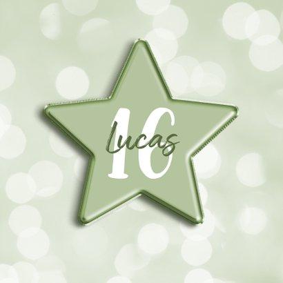 Verjaardagskaart groen met leeftijd in folieballon ster 2