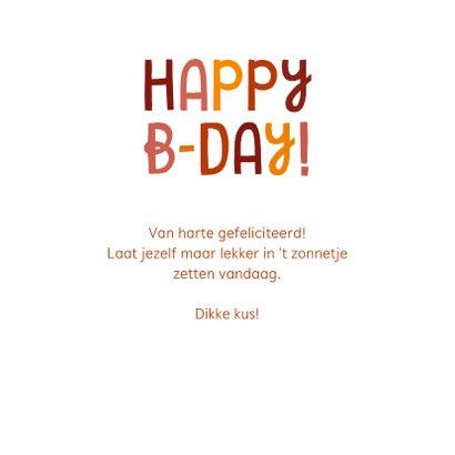 Verjaardagskaart Happy B-day met zonnetjes 3