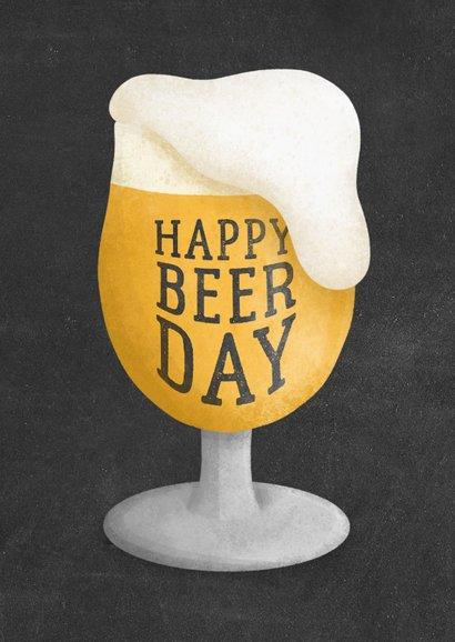 Verjaardagskaart happy beer-day krijtbord 2